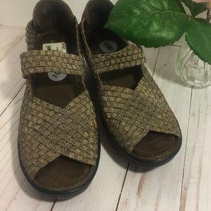 Bronze Woven Mary Jane style wedge peep toe